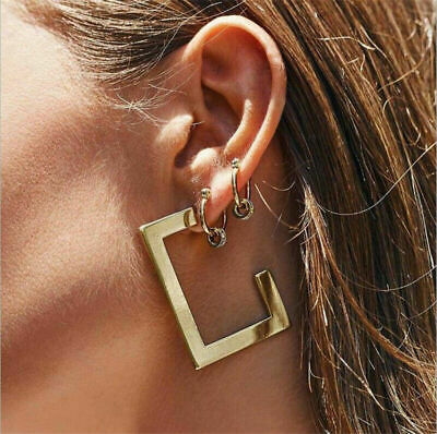 Women Fashion Metal Geometric Pendant Dangle Drop Statement Earrings Jewelry