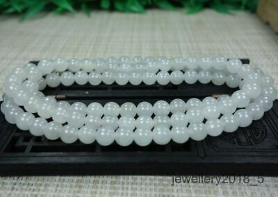 Certified  Icy White 100% natural A jadeite jade Bead Necklace项链 26 inches