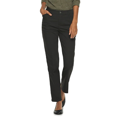 Lee Flex Motion Straight Leg, Regular Fit Mid Rise Women's Jet Black Pants $50