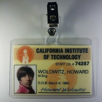 The Big Bang Theory ID Badge- Howard Wolowitz prop costume cosplay