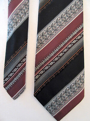 Vintage Hardy Amies At Hepworths Brown White Black 3.5 Inch Polyester Neck Tie