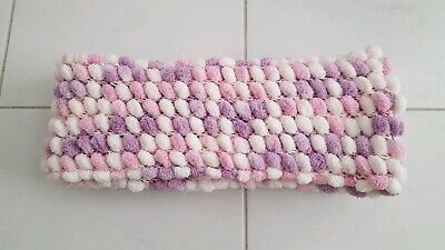 Pom Pom Scarf Purple Pink White