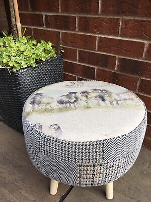 """Country Footstool !! Voyage """"Come By"""" With A  Grey Mix Patchwork Effect Check"""