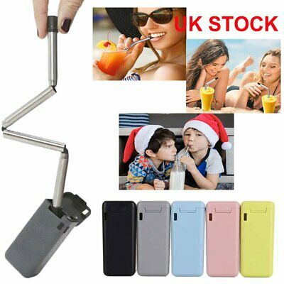 Reusable Collapsible Straw Stainless Folding Outdoor Bar Metal Drinking Straw UK