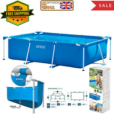 Rectangular Swimming Pool Framed Large Family Summer Outdoor Fun Garden IntexNEW