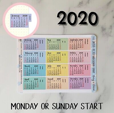 2020 Calendar Stickers for Planner Bullet Journal Diary Agenda, 2020 Planner