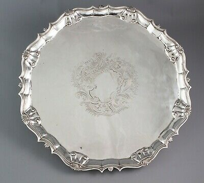 A Large George II silver Salver or Tray, London 1750 by John Le Sage