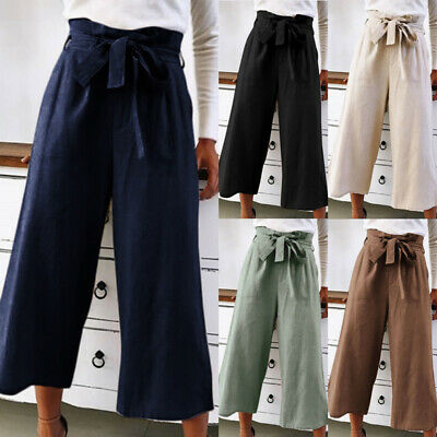 Womens Paperbag High Waist Pants Wide Leg Belted Culottes Loose Trousers OL Work