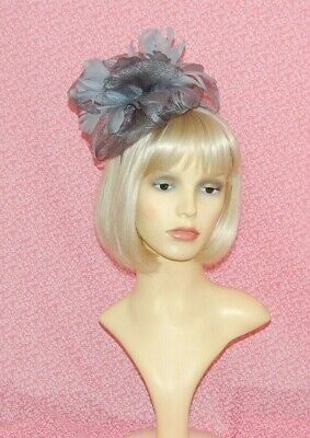 Light Grey Sinamay Bow & Feather Flower  Fascinator on Head Band
