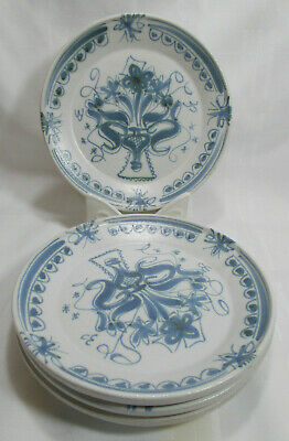 Keraluc Quimper G12 Hand Painted French Faience Blue & White 4 Salad Plates VGC
