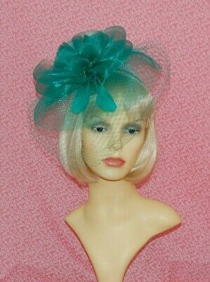 Elegant Teal Green Net Fascinator with Veil, Loops & Feathers On Head Band