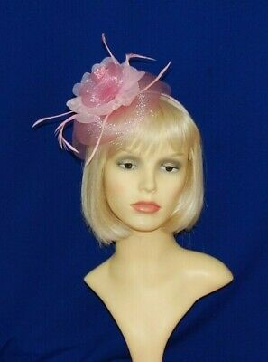 Elegant Pale Pink Net Fascinator with Flower & Feathers On Head Band