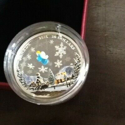 "2016 Canada $20 Holiday ""My Angel"" Venetian Murano Glass & Silver Coin W/Box-Coa"