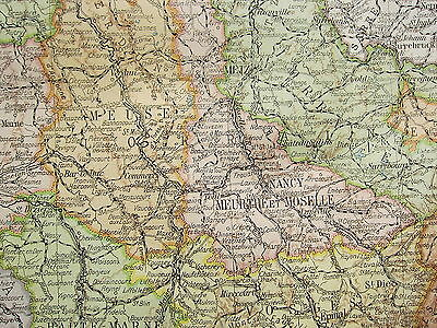 1919 Large Map ~ France North East ~ Inset Western Front 1914-18 ~ Minerals