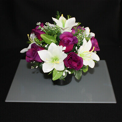 Purple Roses & White Lilies Arrangement | Artificial Flower Pot | Grave/Memorial