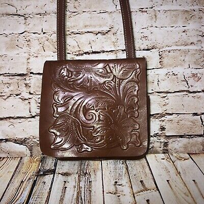 PATRICIA NASH Granada Florence Tooled Leather Crossbody Bag Adjustable Brown