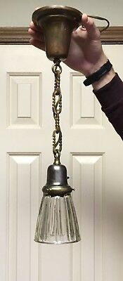 Antique Brass Pendant Ceiling Light Fixture Thick Glass Shade P&S Fat Boy Paddle