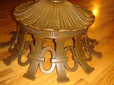 """Antique Attributed Tiffany Studios  Bronze Lamp Base 0R Ceiling Canopy 30Lb W21"""""""