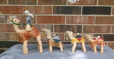 Vintage Leather Moroccan Camel Figurines Hand Stitched Set of 4