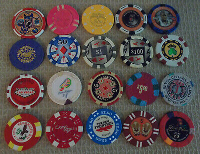 LOT OF 20 MIXED DENOMINATION CASINO hotel gaming chips ~Various Locations (#7)