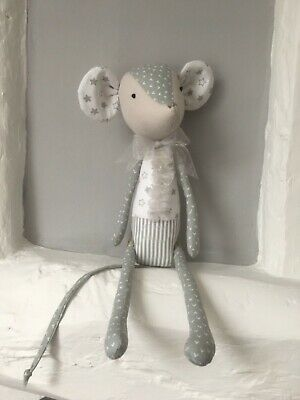 "Handcrafted ""Tilda"" style heirloom toy mouse in quality grey patchwork fabrics"