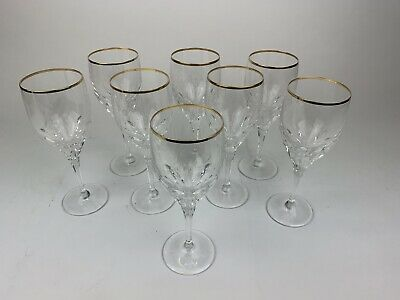 "8 Gorham Diamond Optic Ribbed Crystal 8 1/4"" Gold Tipped Wine Glasses"