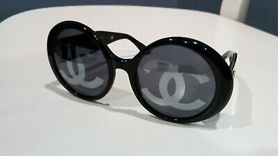 c6ad11123 Authentic Vintage Chanel Black Round Sunglasses From 1994 01944 94305