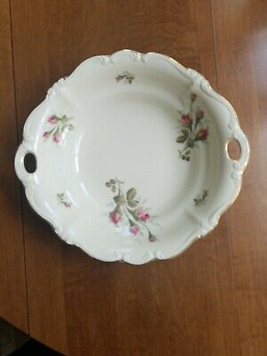 Nice Rosenthal Pompadour (Moss Rose) Ivory Body Round Pieced Handle Serving Bowl