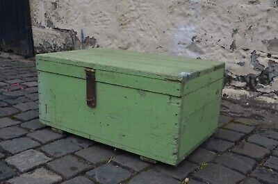 Antique Light Green Hand Painted Wooden Chest Box Trunk Tool Kist