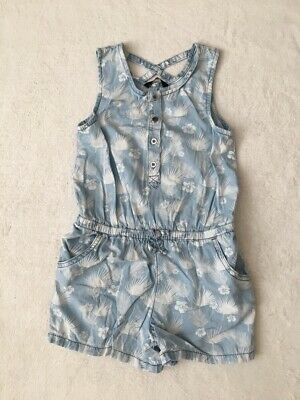***George girls Blue cotton shorts playsuit 7-8 years VGC***