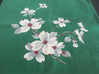 Vintage Tablecloth Topper WILENDUR DOGWOOD Flowers GREEN GRAY  31X34