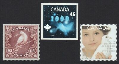 DOVE = Bird = 3 Millennium stamps = inc HOLOGRAM = Canada 1999 #1812-14 MNH