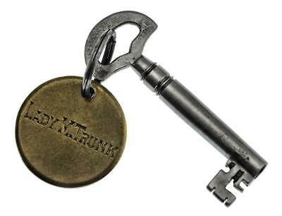 "Antique TRUNK Key 1⅞"" with Hand Engraved LADY M. TRUNK TAG - ref.k261"