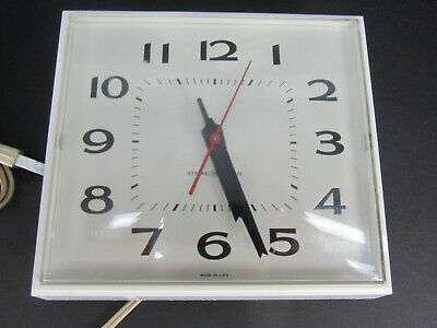 Vintage General Electric 2145 White Square Kitchen Wall Clock Working GE Retro