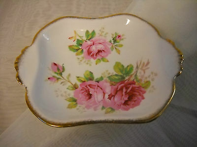 """Vintage Royal Albert Crown China """"American Beauty"""" Roses Square Mint/Sweets Dish"""