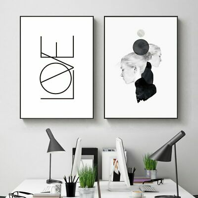 Abstract Black And White Poster Simple Canvas Nordic Girl Print Art Posters