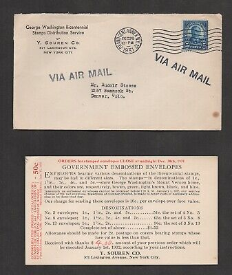 US #637 On Cover, Washington Bicentennial Stamps Distribution Service, NY To CO.
