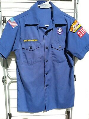 Official BOY SCOUTS OF AMERICA Youth LARGE Blue Cub Scout BSA Uniform Shirt VGC