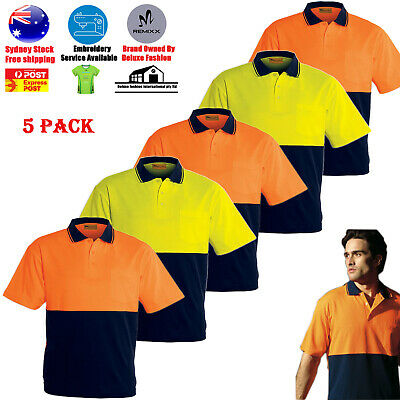 5PACK HI VIS POLO Shirts (HIVIS ARM PIPING PANEL)WORK WEAR COOL DRY SHORT SLEEVE