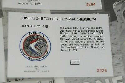 Large Apollo 15 Pencil X Lead Flown To The Lunar Surface by Jim Irwin & Letter