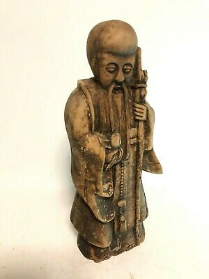 Very Old Antique Hand Carved Wood Chinese 3 Star Shou 財子壽 Sculpture Ming Dynasty