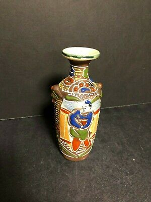 Antique Old Chinese Asian Japanese Ceramic Art Pottery Vase Enamel Motif Painted