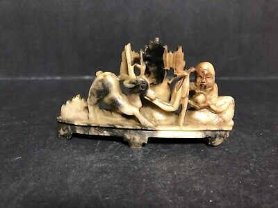 Old Antique Hand Carved Chinese Soapstone Sculpture Shou Lao & Deer Fawn Scene!