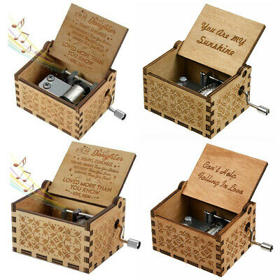 Hand Crank Vintage Wooden Engraved Music Boxes Toys Kids Musical Birthday Gift