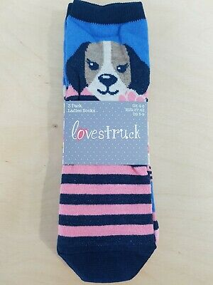 Brand New Ladies Lovestruck Socks pack of 3 Size 4-8 3 Different Designs
