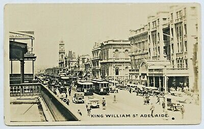 C.1920'S Rp Postcard King William Street Adelaide Busy Full Of Trams Traffic C98