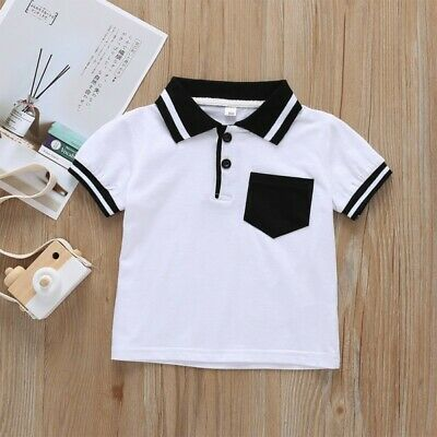 Simple Toddler Baby Boy Kids Clothes Short Sleeve Cartoon Tops T-Shirt Blouse US