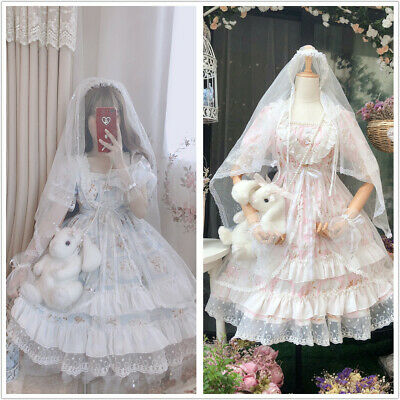 French Sweet Lolita Fairy Multilayer Lace Ruffles Short Sleeve Princess Dress