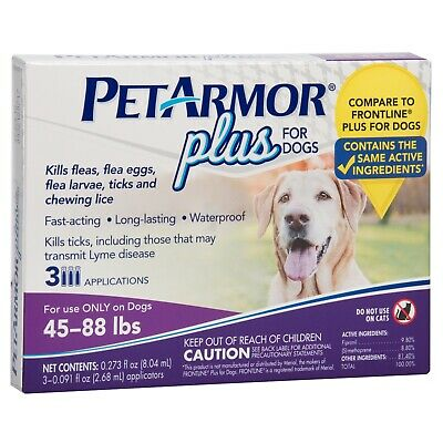 PetArmor Plus Flea & Tick Treatment for Dogs, 45-88 lbs, 3 Month Supply