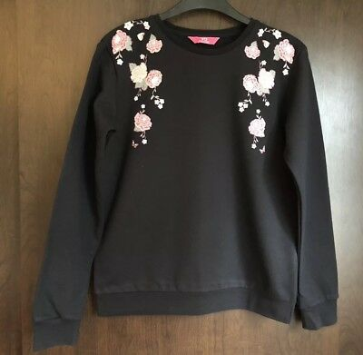 Primark Black Jumper/Sweatshirt With Pink Floral Shoulder Detail Age 12-13 Years